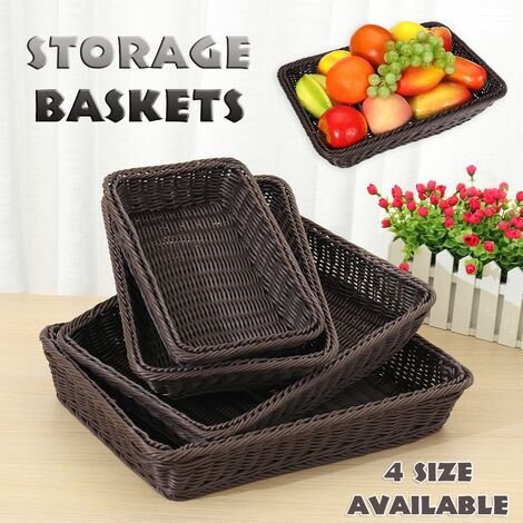Rattan Storage Baskets Tray Basket Bread Container Holder Home Fruit Gift (45 x 35 x 8cm)