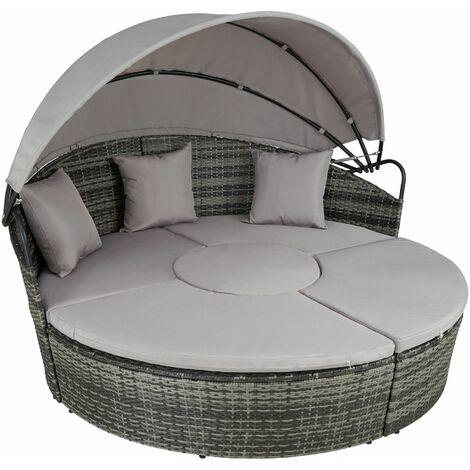 Rattan sun lounger island Santorini - garden lounge chair, sun chair, double sun lounger - grey