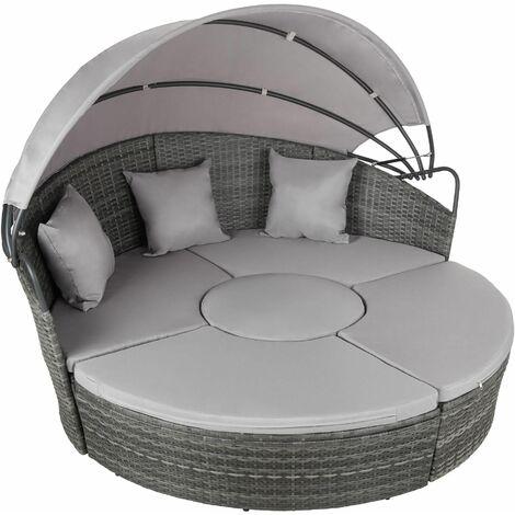 Rattan sun lounger island aluminium - garden lounge chair, sun chair, double sun lounger