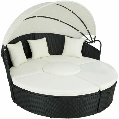 "main image of ""Rattan sun lounger island aluminium - garden lounge chair, sun chair, double sun lounger"""