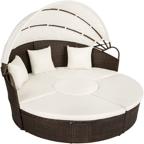 Rattan sun lounger island aluminium, variant 2 - garden lounge chair, sun chair, double sun lounger