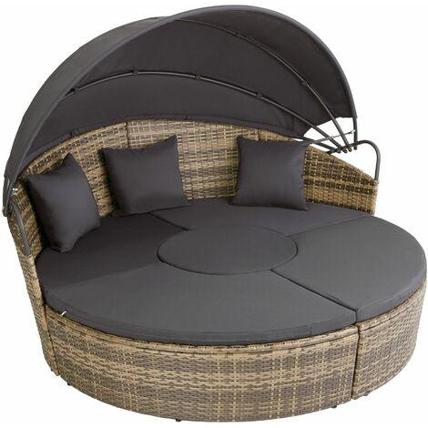 "main image of ""Rattan sun lounger island Santorini - garden lounge chair, sun chair, double sun lounger"""