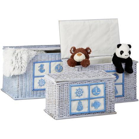 Rattan Truhen 3er Set, Aufbewahrungsboxen mit maritimen Motiven, dekorative Kisten mit Stoffbezug, hellblau