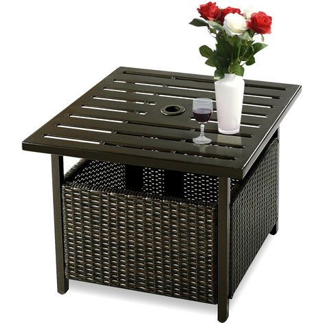 Rattan Umbrella Side Table Outdoor Garden Leisure Coffee Table w/Umbrella Hole