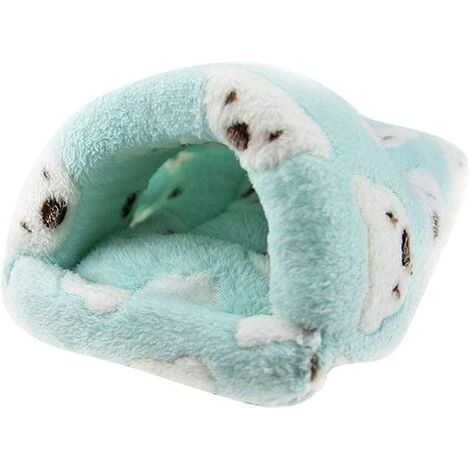 Ratte Hamster Maison Lit d'hiver en Polaire Chaud Petit Animal de Compagnie Chili China Lapin Chinchilla Lit Maison Cage Nest Hamster Accessoires Taille S (Vert)