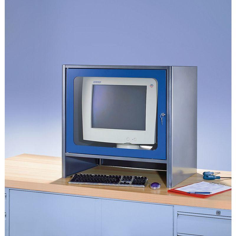 RAU Compartiment pour écran à ventilateur intégré - h x l x p 710 x 710 x 550 mm - anthracite métallisé / bleu gentiane - Coloris corps: anthracite
