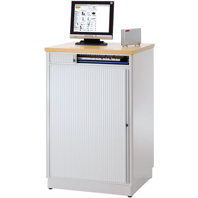 RAU Poste informatique - h x l x p 1110 x 1030 x 660 mm, sans compartiment écran - anthracite métallisé / bleu gentiane - Coloris corps: anthracite