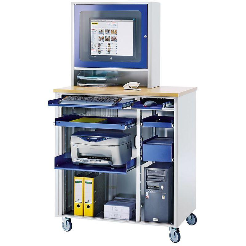 RAU Poste informatique - h x l x p 1820 x 1030 x 660 mm, avec compartiment écran - anthracite métallisé / bleu gentiane - Coloris corps: anthracite