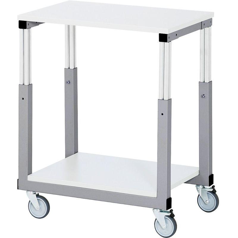 RAU Postes de travail modulaires, réglables en hauteur de 650 à 1000 mm - chariot à plateaux avec 4 roulettes pivotantes - Coloris plateau: gris