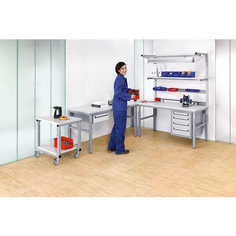 Certeo - RAU Postes de travail modulaires, réglables en hauteur de 650 à 1000 mm - table de base - l x p 1500 x 500 mm - Coloris plateau: gris clair