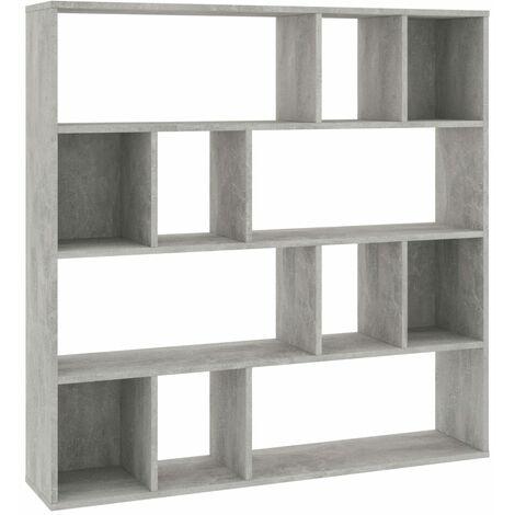 Raumteiler/Bücherregal Betongrau 110×24×110 cm Spanplatte