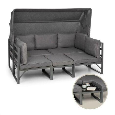 Ravenna Lounge Set Garden 4-Piece Convertible Poly Rattan Aluminium