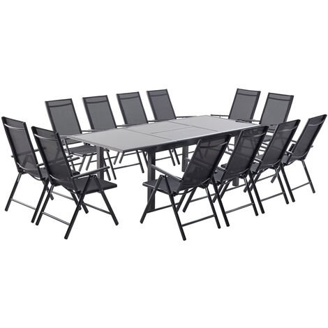 ravenne 12 salon de jardin en aluminium 12 places gris. Black Bedroom Furniture Sets. Home Design Ideas