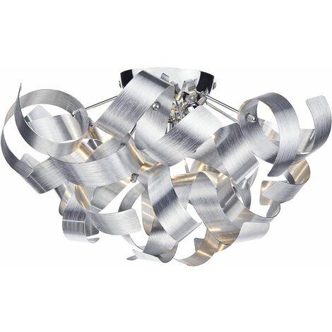 Rawley brushed aluminum and polished chrome 4-light ceiling light