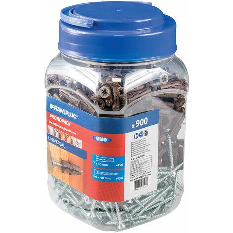 Rawlplug R-C1-UNOBRN+ Brown UNO® Plugs & Screws in Jar (450 Plugs + 450 Screws)
