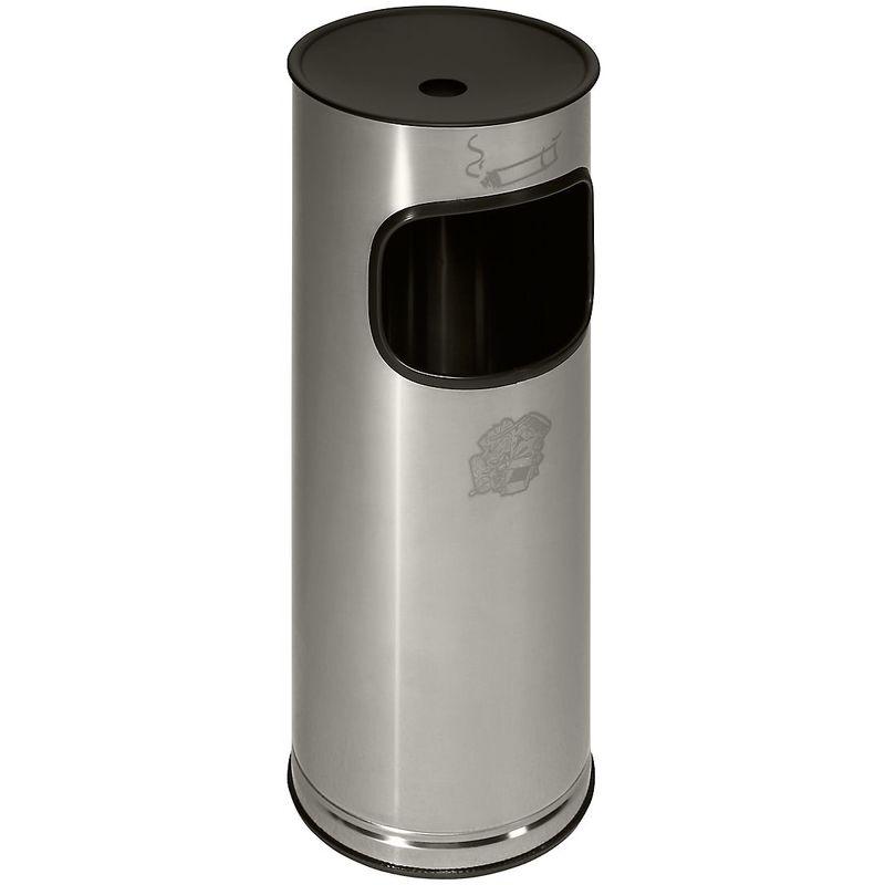 Cendrier sur pied en inox avec poubelle - hauteur 610 mm - capacité poubelle 17 l - Coloris poubelle: acier inoxydable