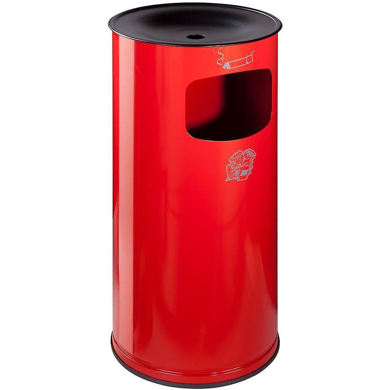 Combiné cendrier-poubelle de sécurité en tôle d'acier - hauteur 710 mm, capacité poubelle 44 l - rouge feu - Coloris poubelle: rouge feu