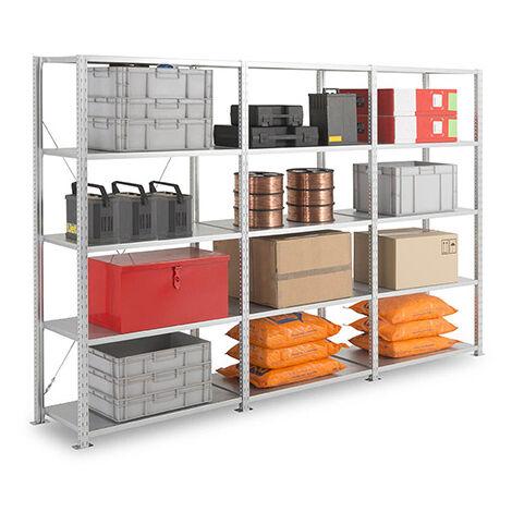 Rayonnage d'atelier galvanisé 5 niveaux : Hauteur 2000 - Longueur 1250mm (plusieurs tailles disponibles)