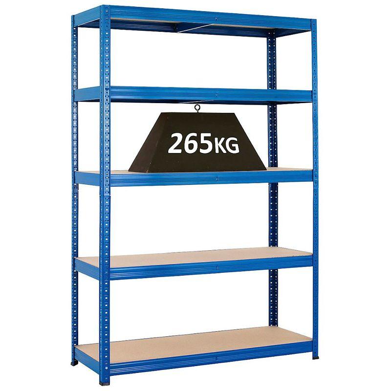 Rayonnage emboîtable bleu - charge max. 265 kg - Rayonnage emboîtable, l x p 1200 x 450 mm - Coloris montants: bleu