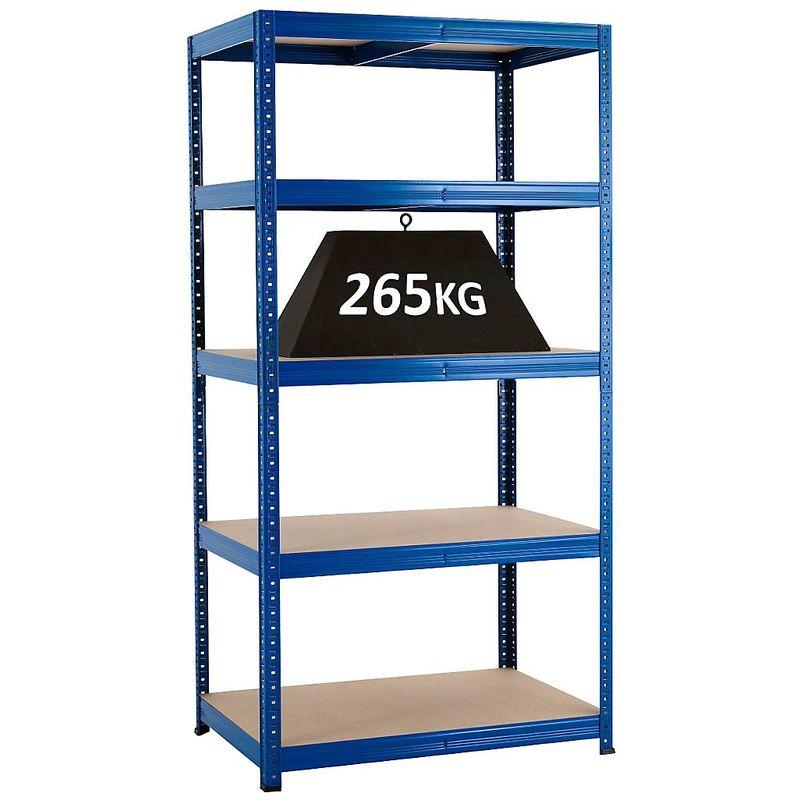 Rayonnage emboîtable bleu - charge max. 265 kg - Rayonnage emboîtable, l x p 900 x 600 mm - Coloris montants: bleu