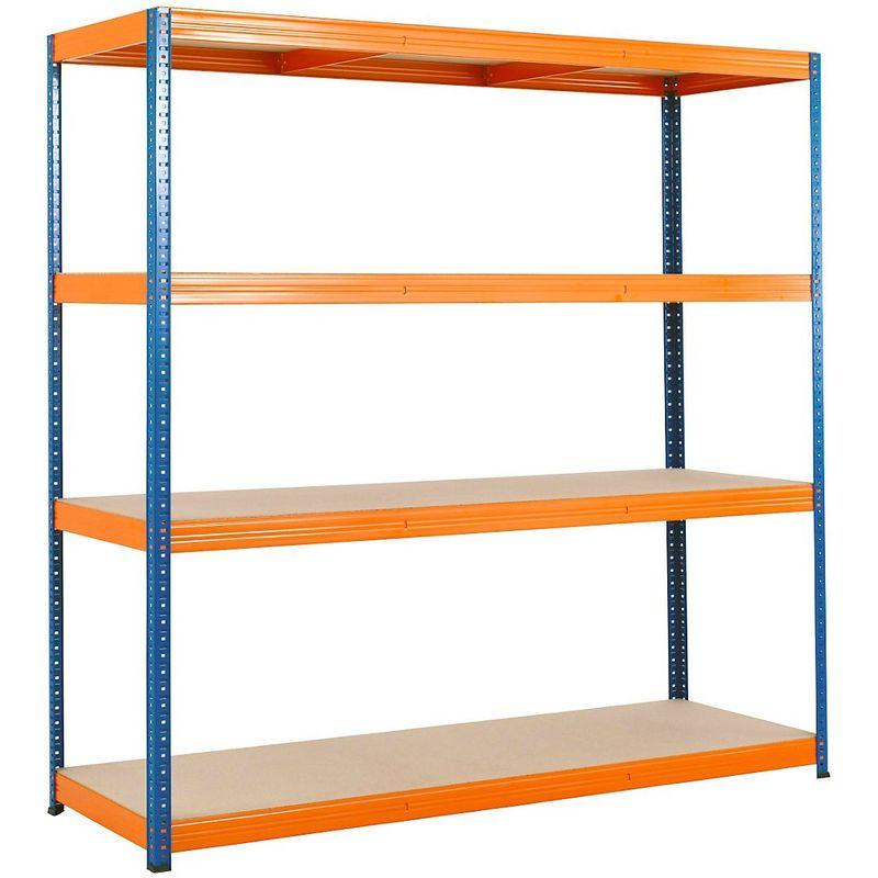 Rayonnage emboîtable - charge max. 350 kg / étagère - h x l x p : 1800 x 1800 x 600 mm - Coloris: orange|Coloris montants: bleu