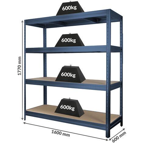 Rayonnage industriel à emboîter | 500 kg par tablette | Largeur 2000 mm | HxP 1770 x 600 mm | Gris bleuté foncé - Gris foncé
