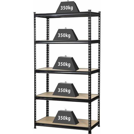 Rayonnage lourd350 kg (l x h x p) 900 x 1800 x 450 mm;métal, MDF;noir;bois;TOOLCRAFT;1530556