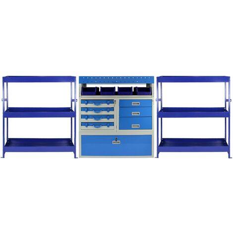 Rayonnage Monster Tempest à étagères en métal et tiroirs en acier pour véhicule utilitaire, Rayons et tiroirs en acier - Bleu