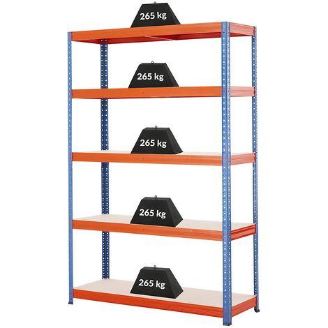 Rayonnage pour charges lourdes – Charge max. par étagère : 265 kg – h x L x P 1780 mm x 1200 mm x 400 mm - Coloris montants: bleu gentiane