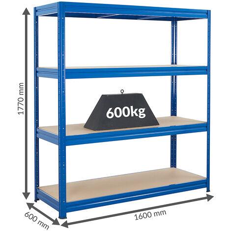 Rayonnage pour entrepôt | 450 kg par tablette | Largeur 2400 mm | HxP 1770 x 600 mm | Gris bleuté foncé - Gris foncé