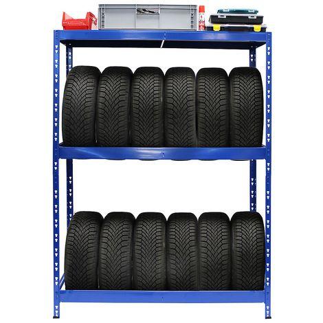 Rayonnage pour pneus | HxLxP 180 x 130 x 50 cm | Jusqu'à 12 pneus | Avec tablettes - Coloris montants: bleu