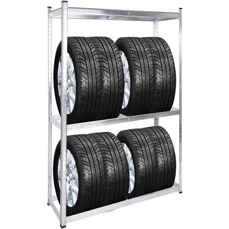 Rayonnage pour pneus Rack à pneus 8 pneus Support de pneus Atelier Etagère enfichable