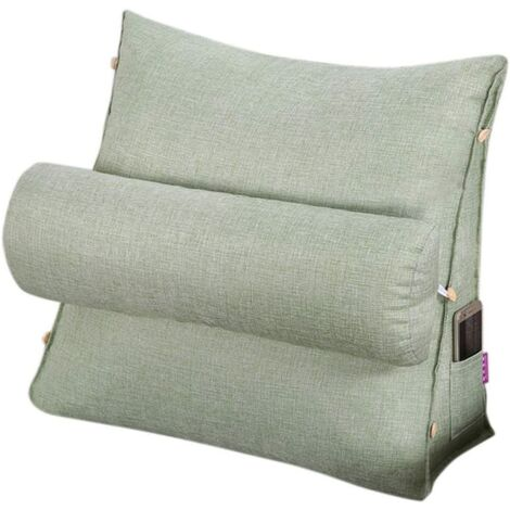 Reading and TV Pillow, Back Wedge Cushion Pillow with Adjustable and Pockets,Triangle Back Pillow,Back Neck Support Bed Pillow,Sofa Rest Cushion,Removable and Washable