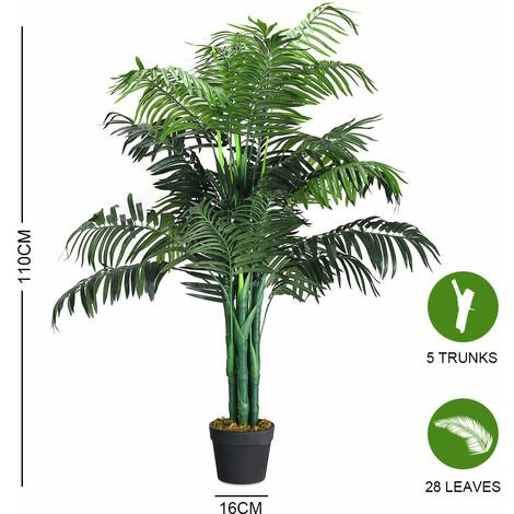 Realistic Artificial Palm Trees Ficus Plants Bamboo Wistera Flower Home & Office[110CM Palm Tree]
