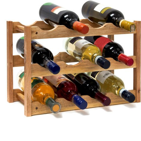 Realxdays Free-Standing Small Wine Rack: 28 x 42.5 x 21 cm Wooden Bottle Stand With Three Shelves For 12 Bottles, Small Wine Bottle Holder Made Out Of Oiled Walnut For Horizontal Storage, Natural