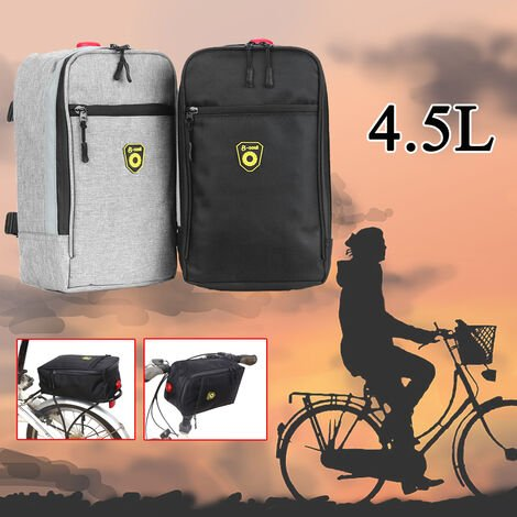 Rear bike carrier for rear trunk bag bicycle transport bag pouch with light (gray, 4.5 l)