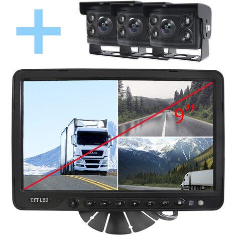 """Rear View and Reverse View System Yatek pour tous les types de véhicules, écran 9"""" avec 4 entrées, comprend 3 caméras de 170º degrés angulaires avec vision nocturne."""