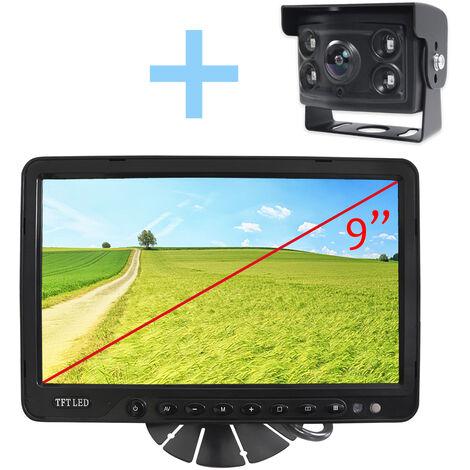 """Rear View and Reverse View System Yatek pour tous les types de véhicules, écran 9"""" avec 4 entrées, comprend une caméra à 170º avec vision nocturne."""