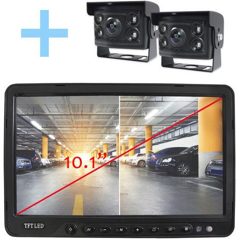 """Rear View and Reverse View System Yatek pour tous les types de véhicules, écran LCD 10,1"""", avec 2 caméras à angle de 170° et vision nocturne."""
