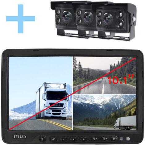 """Rear View and Reverse View System Yatek pour tous les types de véhicules, écran LCD 10,1"""", avec 3 caméras angulaires 170° avec vision nocturne."""