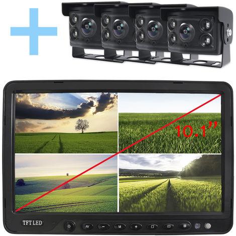 """Rear View and Reverse View System Yatek pour tous les types de véhicules, écran LCD 10,1"""", avec 4 caméras à angle de 170° et vision nocturne."""