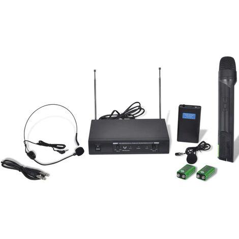 Récepteur avec 1 microphone sans fil et 1 casque sans fil VHF