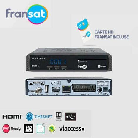 RÉCEPTEUR SATELLITE ENREGISTREUR SIRIUS 3 HD FRANSAT + CARTE FRANSAT
