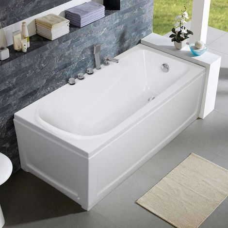 Recessed Bathtub in Acrylic Fibreglass and Stainless Steel Design OZONE