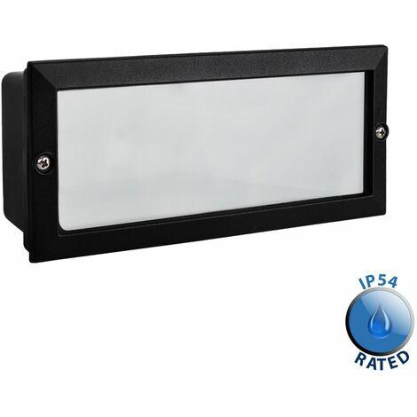 Recessed Black Outdoor Garden Brick Wall Light Ip54 Lamp - Black