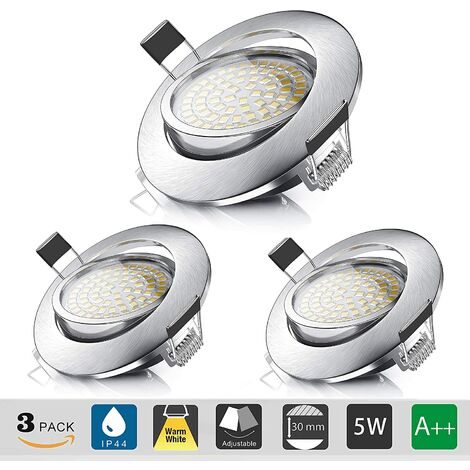 Recessed LED Spotlight, Recessed Ceiling 5W Equivalent to 60W Halogen Bulb, Warm White 3000K 550LM, Adjustable IP44 Projector for Bathroom, Living Room, Hallway (set of 3) [Energy class A ++]