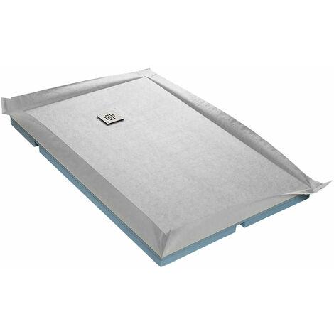 Receveur à carreler 100 x 150 cm COMPACTBOARD 4 pentes avec natte étanche et siphon ultra plat Excentré - Excentré