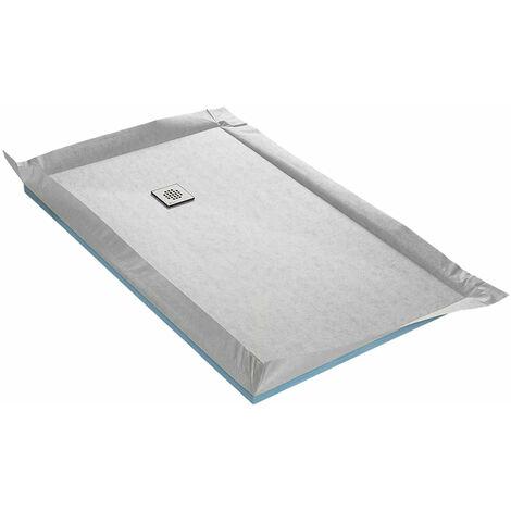 Receveur à carreler 100 x 150 cm FLATBOARD 4 pentes avec natte étanche et siphon ultra plat Excentré - Excentré