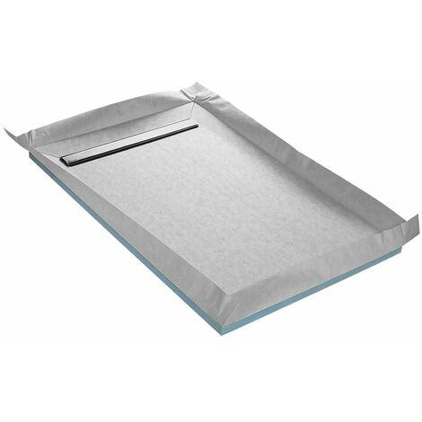 Receveur à carreler 100 x 150 cm LINEBOARD 4 pentes avec natte étanche et siphon ultra plat