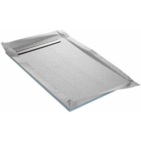 Receveur à carreler 100 x 150 cm MONOBOARD 1 pente avec natte étanche et siphon ultra plat